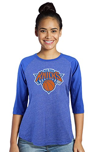 (Majestic Athletic NBA New York Knicks Women's Premium Triblend 3/4 Sleeve Raglan, X-Large, Royal)