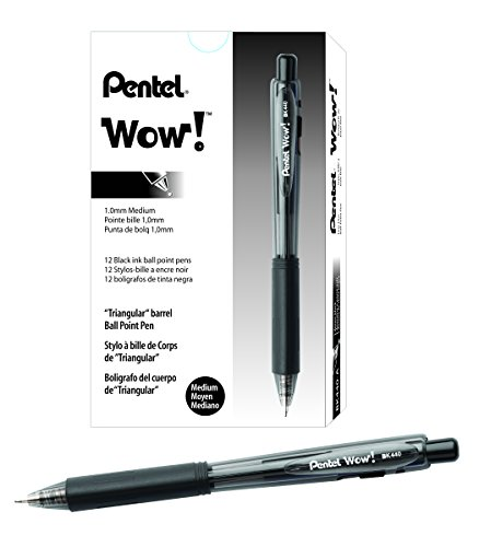 Pentel WOW! Retractable Ballpoint Pens, Medium Line, Black Ink, Box of 12 (Pens For Business)