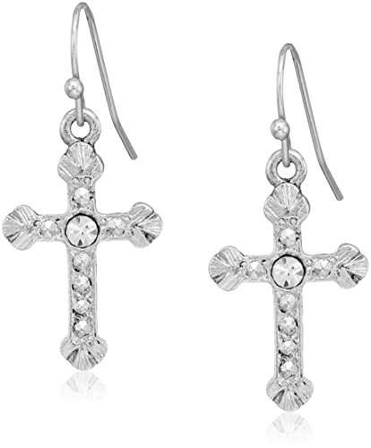 1928 jewelry silver tone crystal accent religious crucifix cross drop earrings