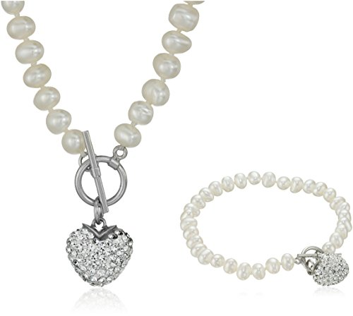 Pearl Heart Toggle (Sterling Silver Toggle Necklace and Bracelet Cultured Pearl Jewelry)