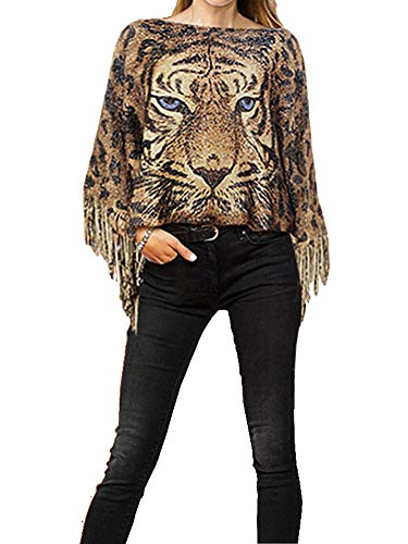 Fashion Secrets Tiger Print Sweater Poncho Cap with Fringes