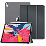 "MoKo Case Fit iPad Pro 11"" 2018 - Translucent Frosted Back Protector Smart Shell Stand Cover with Apple Pencil's Magnetic Attachment Side Opening Fit iPad Pro 11 Inch - Space Gray(Auto Wake/Sleep)"