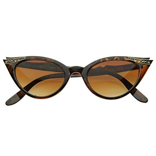95bc3a1d2e6f Galleon - ZeroUV - Vintage Inspired Mod Womens Fashion Rhinestone Cat Eye  Sunglasses (Tortoise)