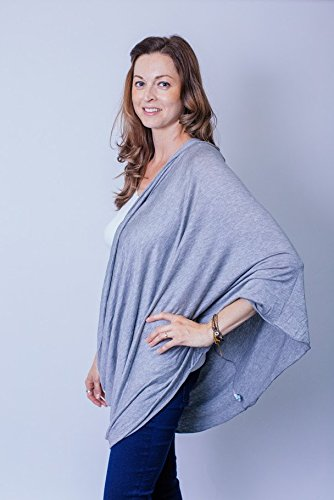 Luxurious Bamboo/Cotton Nursing Cover, Infinity Breastfeeding Scarf, Ultra Soft, No Polyester! Wear many ways, Full Coverage,67 x 0.1 x 27.5 inches (Gray)