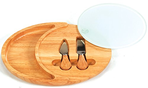 Bag Chips Lb Wood 3 (Oval Shaped Server Tray With Glass Cheese Board And Cheese Tools By Picnic Plus)