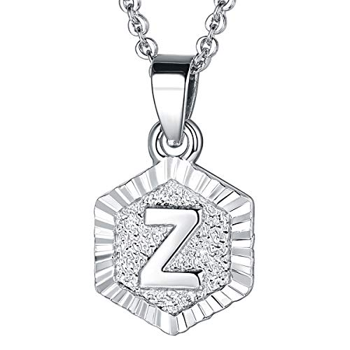 - FOCALOOK Z Initial Necklace Platinum Plated Tiny Alphabet Charm Letter Monogram Jewelry for Women Girls