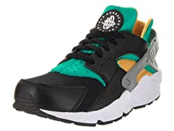 Nike Mens Air Huarache Blackwhiteemeraldresin Running Shoe 13 Men Us
