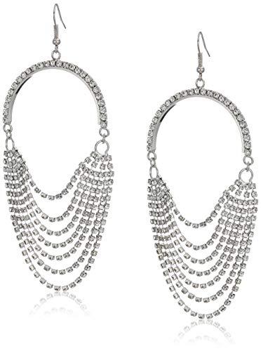 GUESS Women's Rhinestone Chain Earrings, Silver, One Size ()