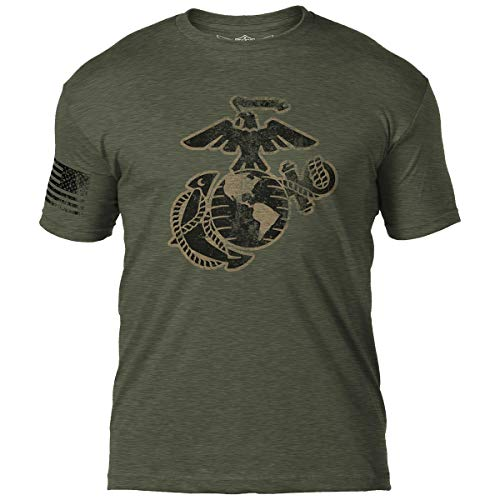 (7.62 Design USMC Eagle Globe & Anchor Men's T-Shirt X-Large Heather Green)