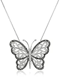 Sterling Silver Black and White Diamond Butterfly Pendant Necklace (1/3 cttw, I-J Color, I2-I3 Clarity)