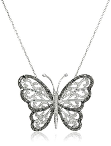 Sterling Silver Black and White Diamond Butterfly Pendant Necklace (1/3 cttw), 18