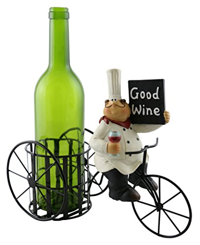 Kitchen Decorative Chef with Wine Glass and Good Wine Sign on Bicycle Metal Wine Bottle Holder with Polyresin -