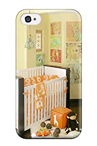 New Cute Funny Unisex Nursery With Orange Bedding And White Crib With Dark Wood Trim Case Cover/ Iphone 4/4s Case Cover