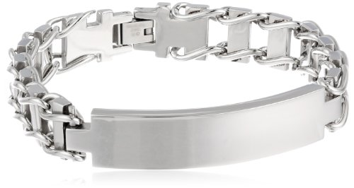 Engravable Id Bracelet (Men's Stainless Steel 12mm Railroad Identification Bracelet)
