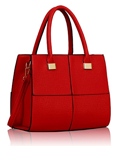 Tote Designer Leather Faux Handbag Red Celebrity Four Style Square qBY6qwA