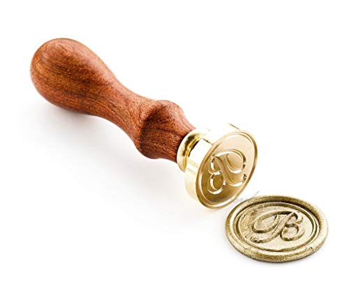 VOOSEYHOME Initial Handwritten Letter Alphabet B Wax Seal Stamp with Rosewood Handle - Ideal for Decorating Gift Packing, Envelopes, Parcels, Letters, Cards, Books, Invitations, Signature etc.