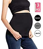 Womens Maternity Band Seamless 3 Pack Everyday Support Bands for Pregnancy Black,White,Grey M
