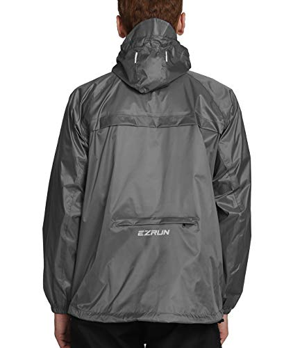 EZRUN Men's Waterproof Hooded Rain Jacket Windbreaker Lightweight Packable Raincoat(Silver Grey,L)