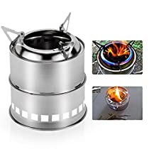 RioRand Outdoor Portable Stainless Steel Camping Stove Wood Burning Backpacking Cooking Kit 4 Piece Set