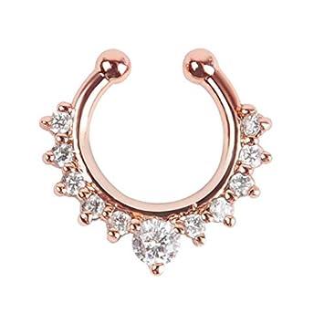 Amazon Oasis Plus White Crystal Rose Gold Fake Nose Ring