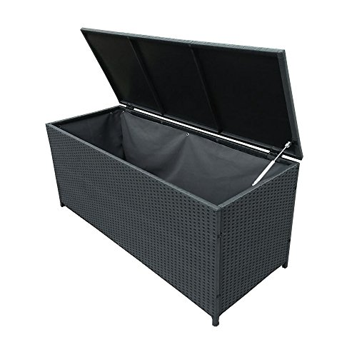 Oakland Living AZ58 STORAGE BK Wicker Outdoor Storage Box, Black By Oakland  Living