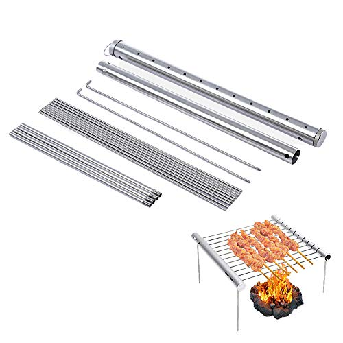 Simple Grill Portable Camping Grill, Folding Compact Stainless Steel Charcoal Barbeque Grill for Campers, Backpacking, Backyards, Survival