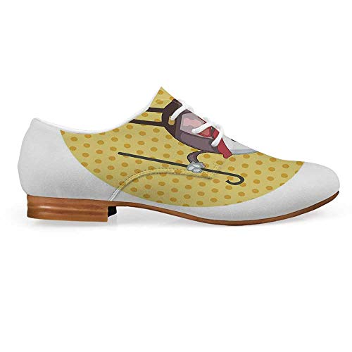 Alice in Wonderland Leather Lace up Oxfords Shoes,Humpty Dumpty Egg Standing Dotted Background Cartoon Alice Bootie for Girls ladis Womens,US 9]()