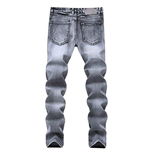 Dritta Pants Grey Vita Lunghi Jeans Vintage Ragazzo Slim Elasticizzato Pantaloni Con A Uomo In Media Denim Fit XFCgqwg