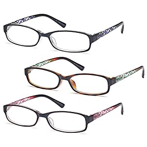 GAMMA RAY Readers 3 Pack of Thin and Elegant Womens Reading Glasses with Beautiful Patterns for Ladies - 1.75x Magnification