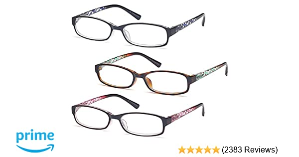 512e248f482 Amazon.com  GAMMA RAY Readers 3 Pack of Thin and Elegant Womens Reading  Glasses with Beautiful Patterns for Ladies  Clothing