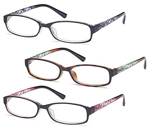 GAMMA RAY Readers 3 Pack of Thin and Elegant Womens Reading Glasses with Beautiful Patterns for Ladies - 2.00x Magnification