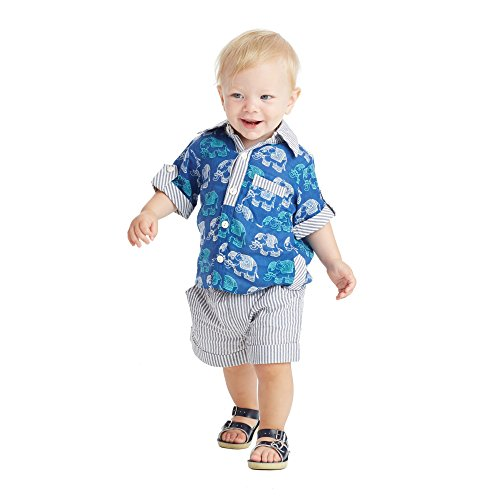 Masala Baby Toddler Boysu0027 Neat Shirt 2pc Set, Gajah Navy, ...