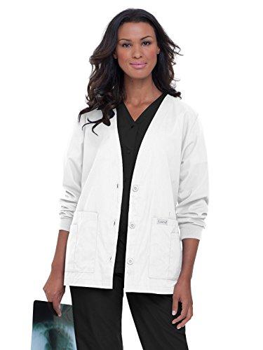 - Landau Essentials Women's Cardigan Warm-up Scrub Jacket White L