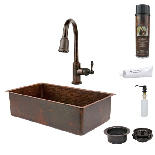 Premier Copper Products KSP2_KSDB33199 33-Inch Hammered Copper Kitchen Single Basin Sink with Pull Down Faucet, Oil Rubbed Bronze by Premier Copper Products