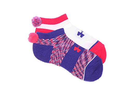 Under Armour Girl`s No Show Socks With Pom 2 Pack (Violet(1310247-975)/White, Youth Large)