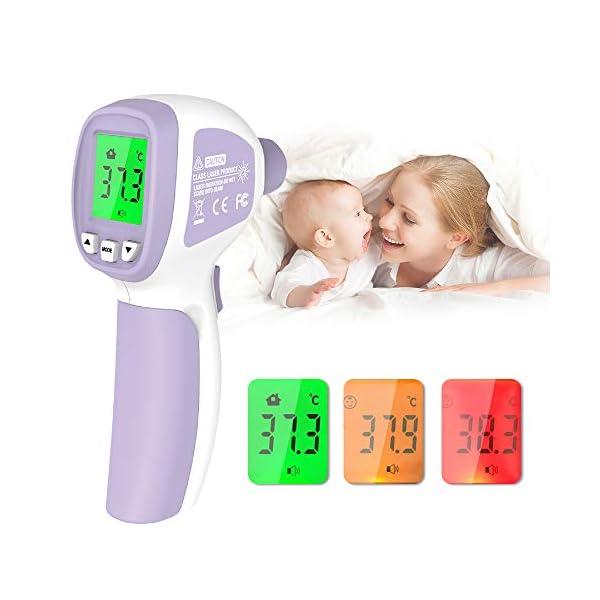 Termómetro de Fiebre, Termómetro Infrarrojo Digital Profesional sin Contacto, con Alarma de Fiebre, Lecturas Precisas Instantáneas, para Bebés, Niños, Adultos 2