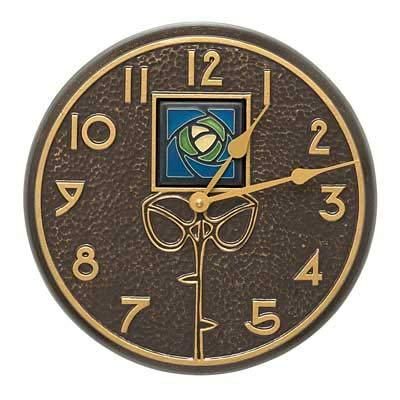(Whitehall Products Blue Dard Hunter Rose Clock, French Bronze)