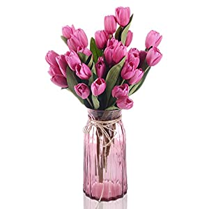 Lvydec Artificial Tulip Silk Flower - 2 Pack Fake Tulip Flower Bouquet with 18 Flower Heads for Home Wedding Party Decor (Light Purple) 112