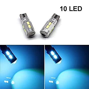 2pcs 10 LED Canbus 5630 10 SMD LED Error Free Car Side Wedge Light T10 501 194 W5W Bulb (10LED Ice Blue) USUN