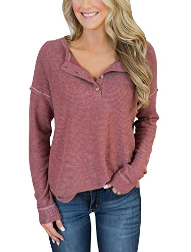PRETTODAY Women's Long Sleeve Henley Tops Casual Pullover with Buttons Scoop Neck Tunics Brick - Pullover Neck Button