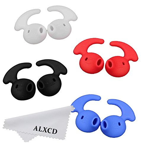 Earbud Tips for Samsung, Sport Ear Tips, ALXCD 4 Pair Anti-Slip Silicone Replacement Ear Tips for Galaxy S7edge S7 S6edge, Samsung Level U EO-BG920 Bluetooth Earphone [Sport] (White/Black/Red/Blue)