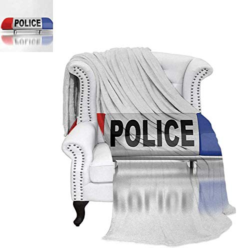 Velvet Plush Throw Blanket Police Car Sirens on Top Cap Like Round Shaped Red and Blue Work of Art Throw Blanket 62