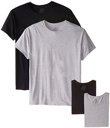 Fruit of the Loom Men's Crew Neck T-Shirt (Pack of 4), Black/Gray, ()