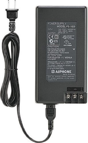Aiphone Corporation PS-1820UL 8V DC, 2A Power Supply for JF Series, JK Series, or JO Series, Fire-Retardant, ABS Plastic Construction