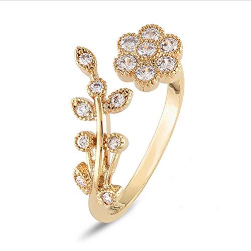 (preeyanan Crystal Leaf Lucky Flower Twist Branch Open Rings Gold Jewelry Sz7-8)