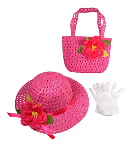 Butterfly Twinkles Girls Tea Party Dress Up Play Set with Sun Hat, Purse, and White Gloves Bright Pink