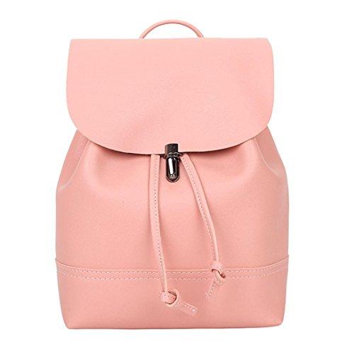 School Bag Vintage Backpack Tefamore Trave Pink New Pure Color Women Shoulder Bag Satchel Leather WCcBnx