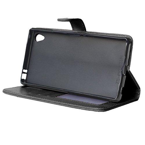 Moonmini® Sony Xperia Z5 Premium Z5 Plus Funda, Premium PU Cuero Funda Cartera Tapa Carcasa para Sony Xperia Z5 Premium Z5 Plus, Negro