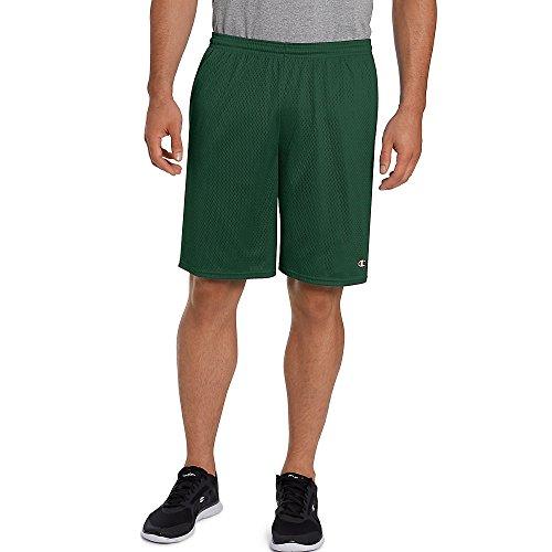 - Champion Men's Long Mesh Short with Pockets, Dark Green, X-Large