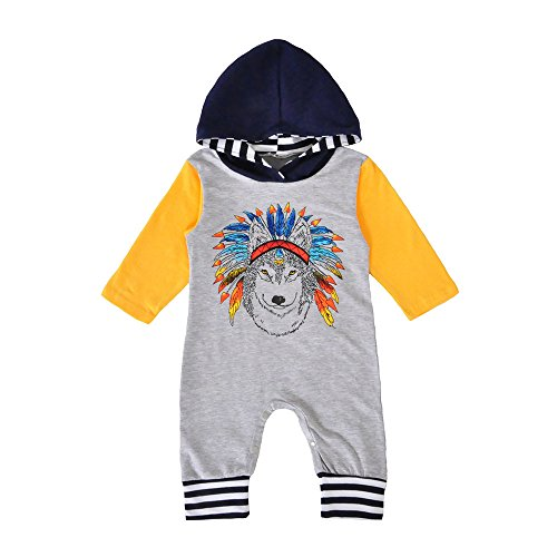 [Birdfly Baby Indian Headdress Wolf Romper Raglan Jumpsuit Hoodies Newborns Footless Bodysuit Playsuits Fall Winter Outfits (18M, Gray)] (Angel Pajama Infant & Toddler Costumes)